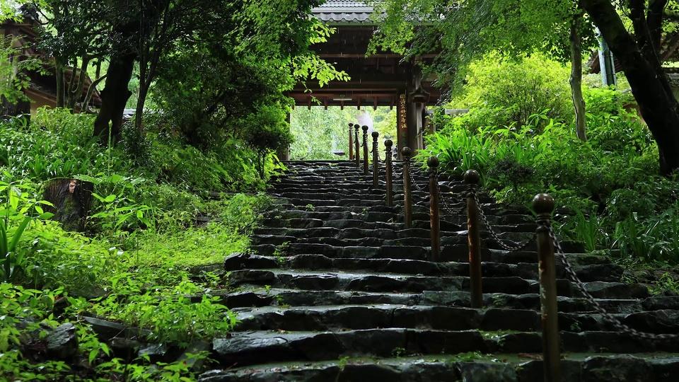 古寺下雨天