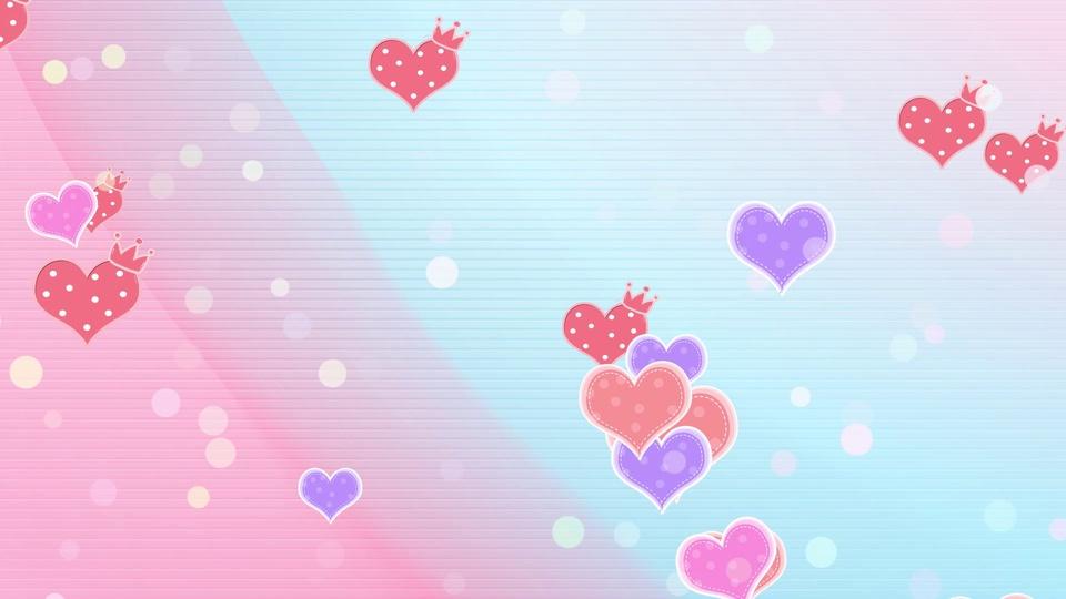 粉色心形卡通