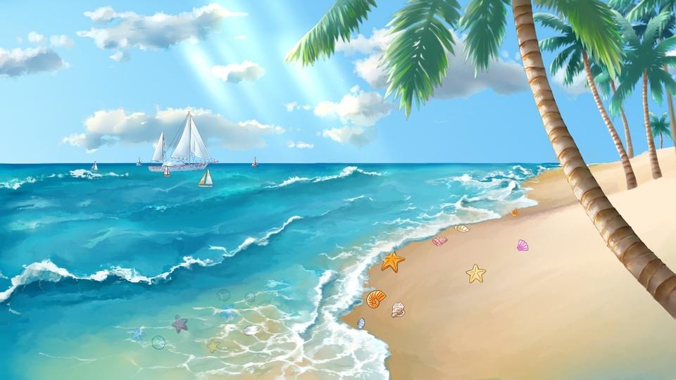 贝壳、沙滩、椰树、大海、帆船